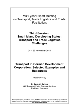 Multi-year Expert Meeting on Transport, Trade Logistics and Trade Facilitation: