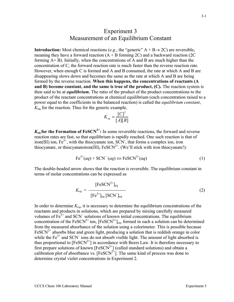 Experiment 3 Measurement of an Equilibrium Constant