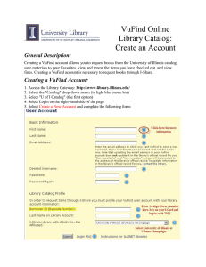 VuFind Online Library Catalog: Create an Account General Description: