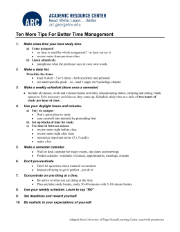 Ten More Tips For Better Time Management