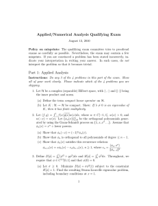 Applied/Numerical Analysis Qualifying Exam