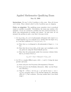 Applied Mathematics Qualifying Exam May 22, 2006