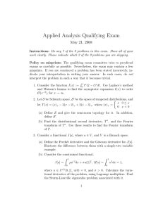 Applied Analysis Qualifying Exam May 21, 2008
