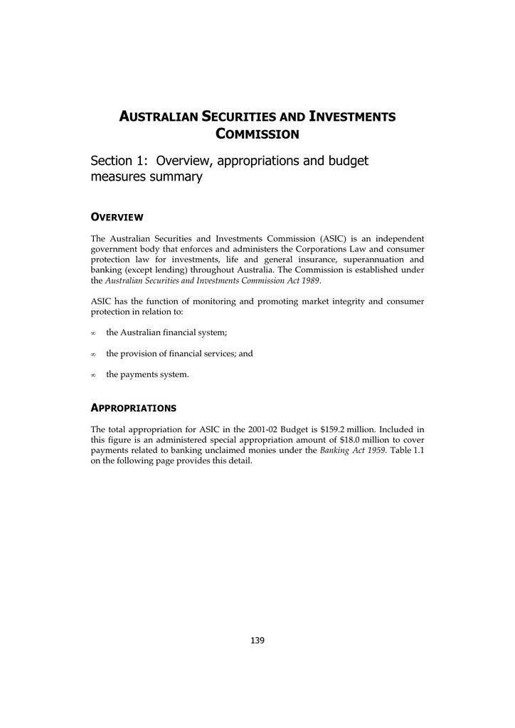 Australian securities and investments commission act 1989 australian securities and investments commission act 1989