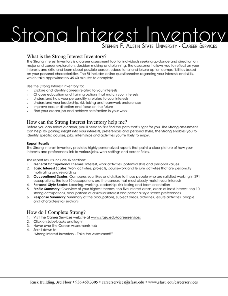 RESUME/Cover Letter CRITIQUE What is the Strong Interest ...