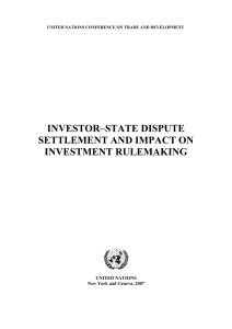 INVESTOR–STATE DISPUTE SETTLEMENT AND IMPACT ON INVESTMENT RULEMAKING