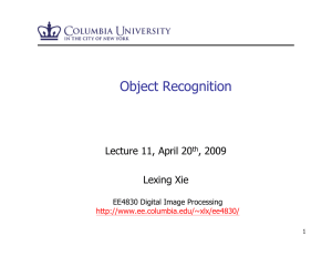 Object Recognition Lecture 11, April 20 , 2009 Lexing Xie