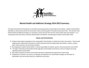 Mental Health and Addiction Strategy 2014-2015 Summary