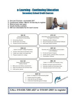 e-Learning - Continuing Education Secondary School Credit Courses