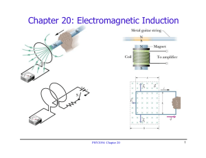 Chapter 20: Electromagnetic Induction 1 PHY2054: Chapter 20