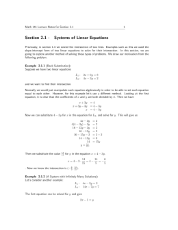 Section 2.1 - Systems of Linear Equations