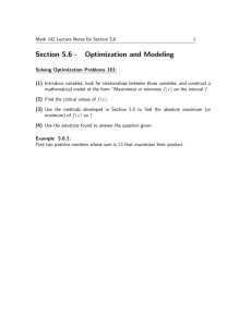 Section 5.6 - Optimization and Modeling
