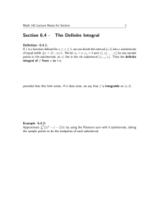 Section 6.4 - The Definite Integral