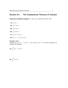 Section 6.5 - The Fundamental Theorem of Calculus