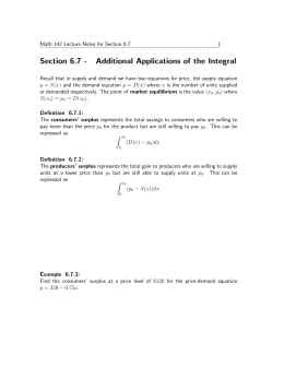 Section 6.7 - Additional Applications of the Integral