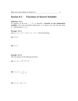 Section 8.1 - Functions of Several Variables