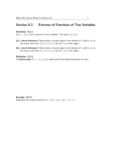 Section 8.3 - Extrema of Functions of Two Variables