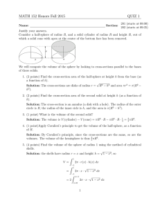 MATH 152 Honors Fall 2015 QUIZ 1