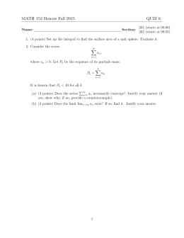 MATH 152 Honors Fall 2015 QUIZ 6