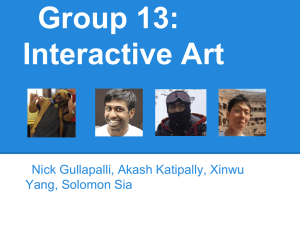 Group 13: Interactive Art Nick Gullapalli, Akash Katipally, Xinwu Yang, Solomon Sia