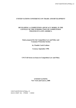 UNCTAD/ITCD/CLP/Misc.12  UNITED NATIONS CONFERENCE ON TRADE AND DEVELOPMENT