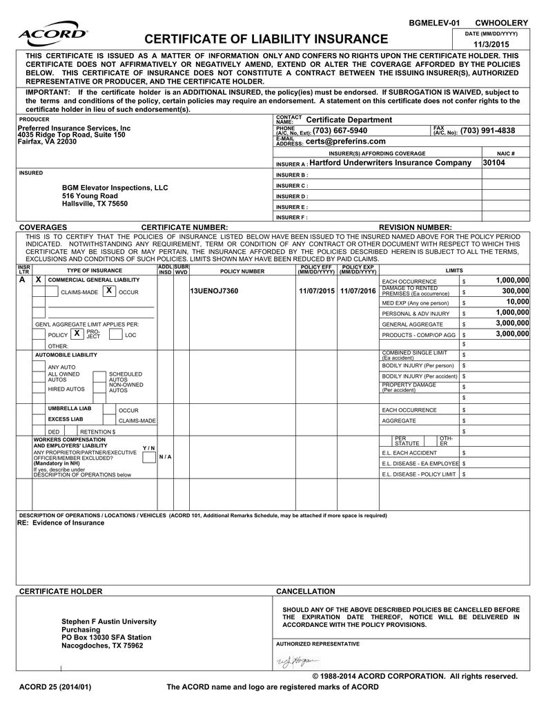 Certificate Of Liability Insurance