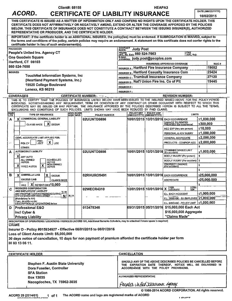 acord certificate insurance liability studylib od