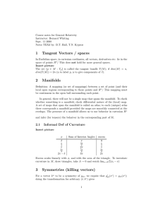 Course notes for General Relativity Instructor: Bernard Whiting Sept. 11 2008