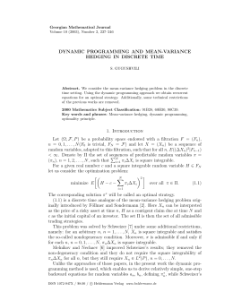 DYNAMIC PROGRAMMING AND MEAN-VARIANCE HEDGING IN DISCRETE TIME