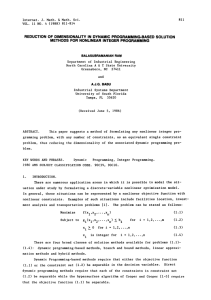 PROGRAMMING-BASED SOLUTION REDUCTION OF DIMENSIONALITY IN DYNAMIC METHODS FOR NONLINEAR INTEGER PROGRAMMING