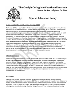 The Guelph Collegiate-Vocational Institute Special Education Policy Confident in Our Future
