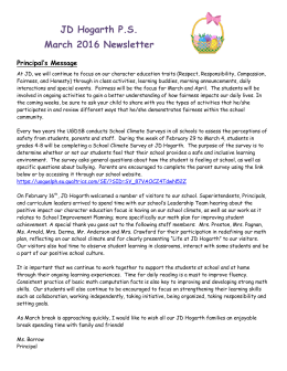 JD Hogarth P.S. March 2016 Newsletter Principal's Message