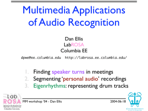 Multimedia Applications of Audio Recognition 1. 2.