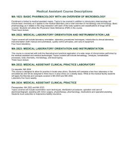 Assistant Course Descriptions