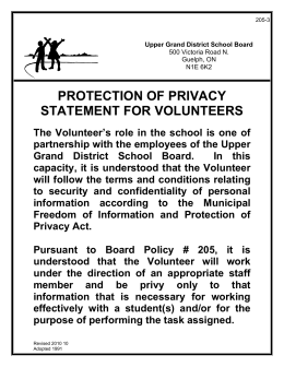 PROTECTION OF PRIVACY STATEMENT FOR VOLUNTEERS