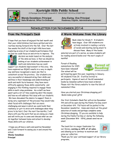 Kortright Hills Public School Newsletter for November,2014 From the Principal's Desk