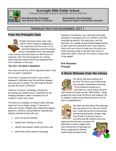 Kortright Hills Public School Newsletter for november, 2011 From the Principal's Desk