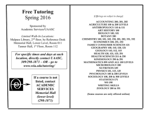 Free Tutoring Spring 2016  Sponsored by