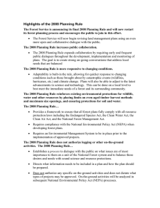 Highlights of the 2008 Planning Rule