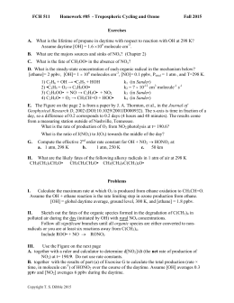 FCH 511 Homework #05  - Tropospheric Cycling and Ozone  Fall 2015