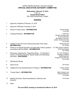 SPECIAL EDUCATION ADVISORY COMMITTEE AGENDA