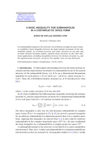 A BASIC INEQUALITY FOR SUBMANIFOLDS IN A COSYMPLECTIC SPACE FORM
