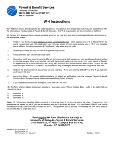 Payroll & Benefit Services W-4 Instructions  University of Colorado