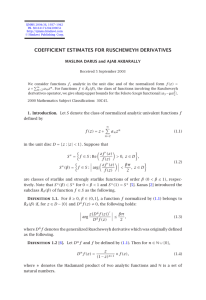 COEFFICIENT ESTIMATES FOR RUSCHEWEYH DERIVATIVES MASLINA DARUS and AJAB AKBARALLY