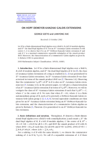 ON HOPF DEMEYER-KANZAKI GALOIS EXTENSIONS GEORGE SZETO and LIANYONG XUE
