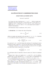 AN APPLICATION OF A SUBORDINATION CHAIN SUKHJIT SINGH and SUSHMA GUPTA