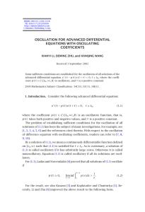 OSCILLATION FOR ADVANCED DIFFERENTIAL EQUATIONS WITH OSCILLATING COEFFICIENTS
