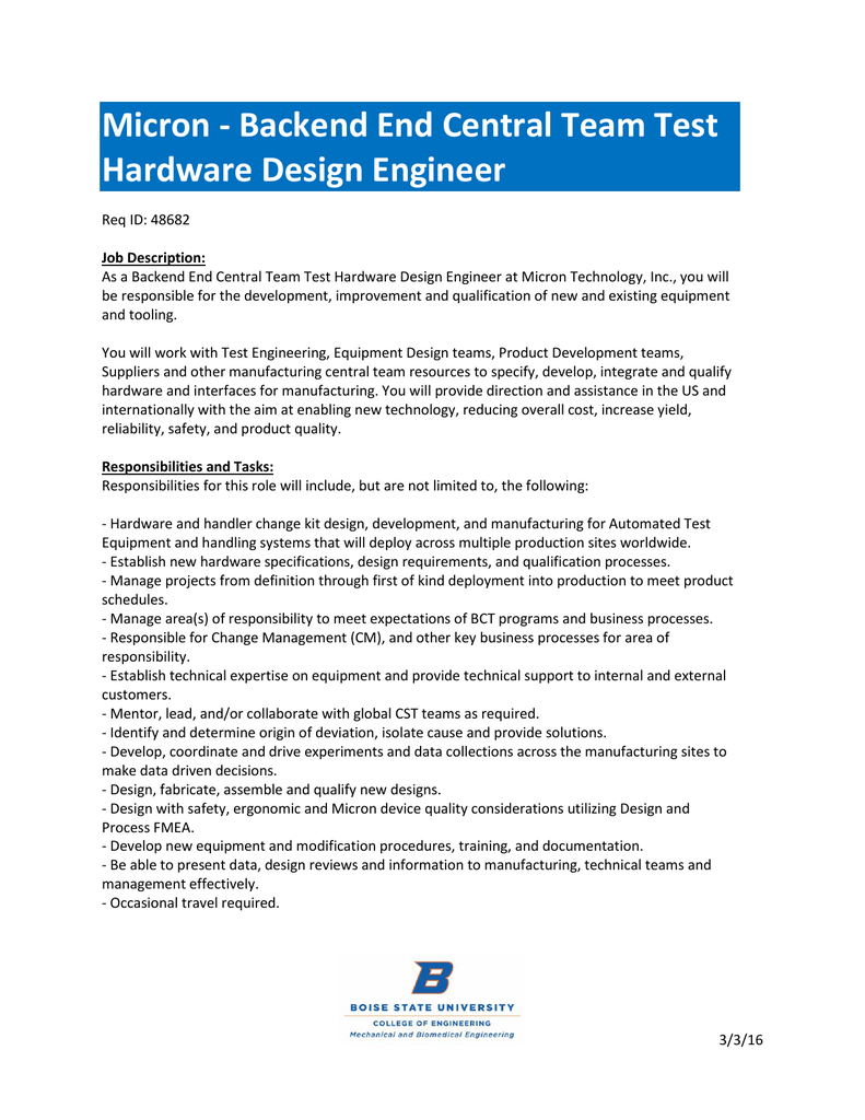 Micron Backend End Central Team Test Hardware Design Engineer