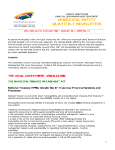 MUNICIPAL ENTITY QUARTERLY NEWSLETTER