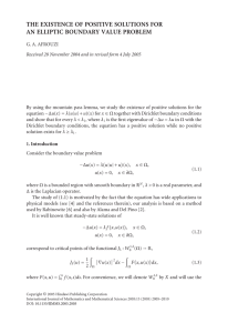 THE EXISTENCE OF POSITIVE SOLUTIONS FOR AN ELLIPTIC BOUNDARY VALUE PROBLEM